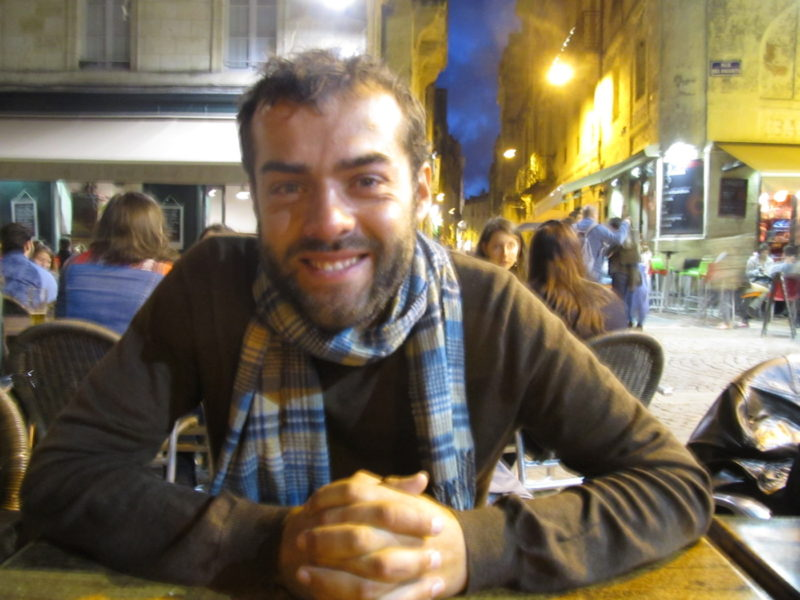 Here's your author, enjoying the evening air in one of Bordeaux's many squares.