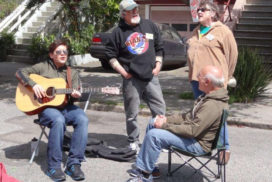 Block party singing neighbors