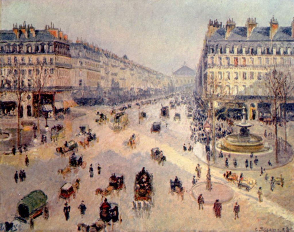 Avenue de l'Opera, Paris, designed by Georges-Eugene Haussmann. Painting by Camille Pissarro (1898).