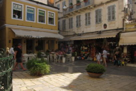 Corfu old town Greece small square