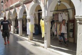 Corfu old town arcade Greece