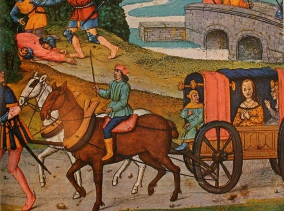 Horse cart medieval painting