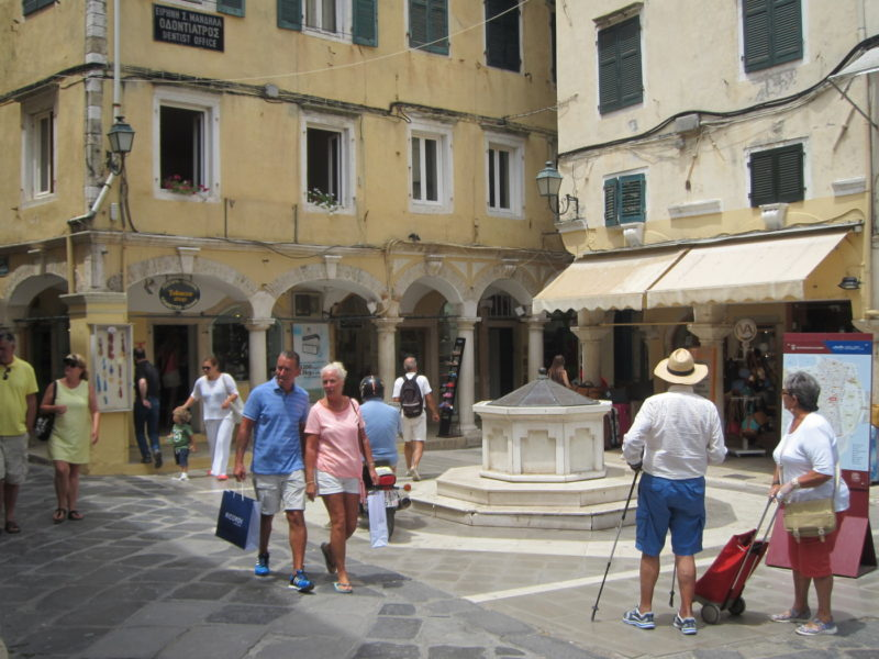 Small square in Corfu, Greece