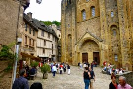 Conques, France - church square
