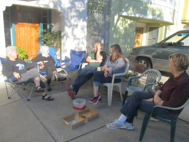 Block party sidewalk meeting 6