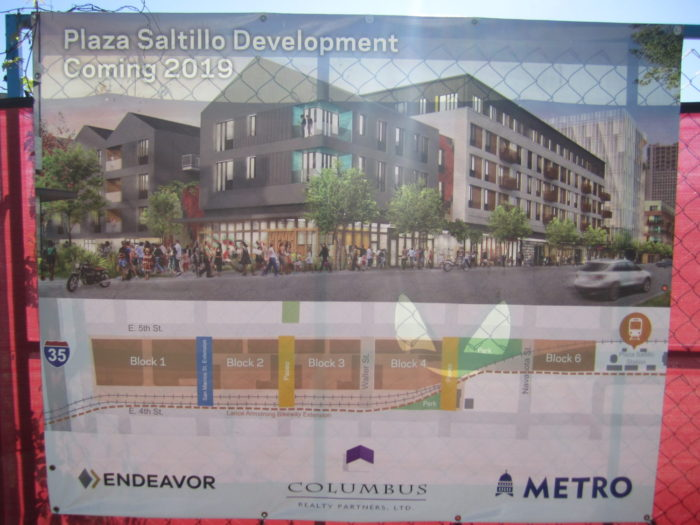 Plaza Saltillo construction sign